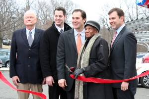 From left: Chris Connor, Director of Business Development at WattLots LLC; Maor Segal, Co-founder and Operations Manager at EMSA Solar; William Kaufman, CEO of WattLots LLC; Union County Freeholder Vernell Wright; Union County Senator Thomas H. Kean Jr. cut the ribbon at the ceremony held to celebrate the installation of the PowerArbor™ system at Runnels Specialized Hospital located in Berkeley Heights.
